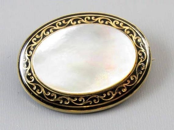 Antique mid Victorian 14k gold black enamel taille d epargne mother of pearl mourning memento mori brooch pin