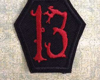 Lucky Number 13 Coffin Patch - Red