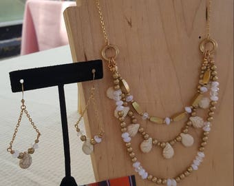 Gold and Ivory Multi Strand Beaded Necklace and Chandelier Earrings