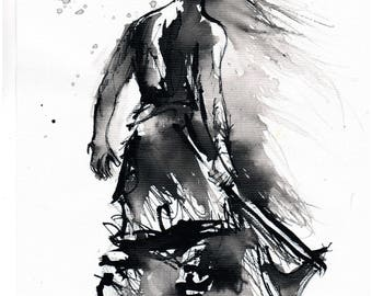 Figure sketch on canvas - 8x12 20x30cm -  abstract warrior with an axe