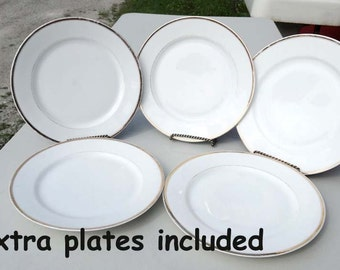 J U0026 C Bavaria White Dinner Plates With Gold Band Leaf 8 Dinner Plates Serving  Dinner