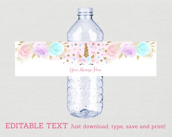Unicorn Water Bottle Labels / Unicorn Baby Shower / Pink & Gold Unicorn / Floral Unicorn / INSTANT DOWNLOAD Editable PDF A450