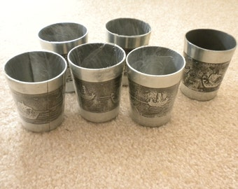 Decorative Pewter or Soft Metal Cups