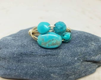 Turquoise Gemstone Cluster and Gold Wire Wrapped Ring - Size 6.5 // Gifts for Her