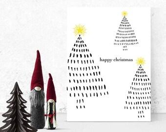 Christmas Card Set - Happy Christmas - Holiday Christmas Cards - Christmas Tree Card - Pine Tree Card - Holiday Card Set