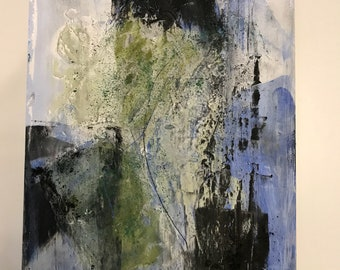 Green Tea 3, 11 by 14, oil and cold wax, original, one of a kind, blue, black, white, green, texture