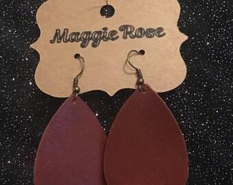 Brown leather teardrop earrings