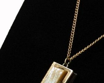 Antique Gold Filled Book Locket Pendant Necklace