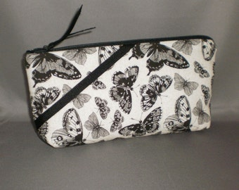 Cosmetic Bag - Makeup Bag - Large Zipper Pouch - Butterfly - Black and White