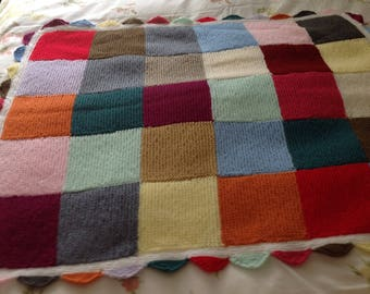 Baby Multicoloured Patchwork Knitted Blanket