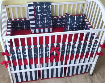 Anchors Nautical Theme Sailor Baby Boy CRIB BEDDING SET - Includes Bumper Pad, Crib Skirt, Blanket and Nursery Accent Pillow - Made-to-Order