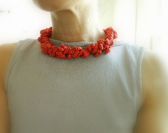 Red Statement necklace Rope Necklace Cord Necklace Bib Necklace fiber necklace Modern necklace nautical necklace Rope Jewelry Gift For Her