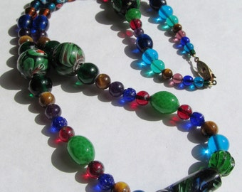 Vintage Visions: Custom Gemstone and Glass Beaded Necklace with Artist's Description