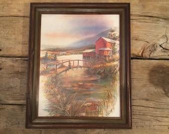 RF Harnett print- signed  bridge to a mill farmhouse decor farmhouse art wall decor
