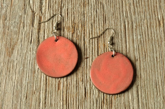 LARGE glossy coral round stoneware drop earrings