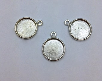 6 pc Bezel Pendant // 13mm // Charm // SilverTone // DIY // Made In The USA by Winky&Dutch
