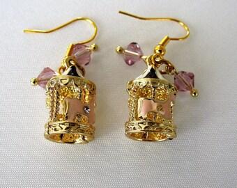 Carousel Earrings, Carousel Horse, Fun Jewelry, Gold Plated Hook, Dangle Earrings, Swarovski Crystals, Novelty Earrings, Soft Colors, Pink