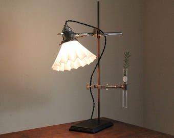 Science lamp industrial decor lighting steampunk laboratory antique desk chemistry reclaimed adjustable milk glass shade and flower vase