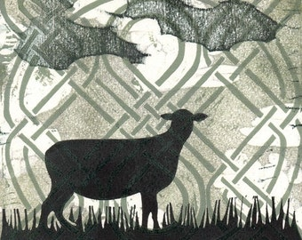 Celtic Sheep - original woodcut print, CoProduction by AzureGrackle and Procyonidae