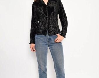 Vintage  90's  Black Velvet Button Shirt / Long Sleeve Black Velvet Blouse / Black Velvet Top - Size Medium