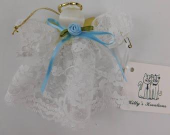 Handmade Vintage Lace Guardian Angel Ornament Light Blue Ribbon Light Blue Rose    (L)