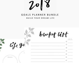 Goals Planner Bundle, goals planner, bucket list, printable bundle,printable planner,hand lettering,printable,planner,student,productivity