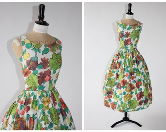 Exquisite 50s SunRay of Arizona Novelty Floral Dress.