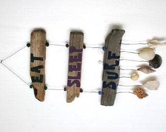 Driftwood Eat, Sleep, Surf Driftwood Sign with shells