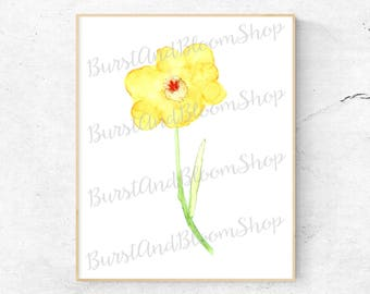 Yellow Hibiscus Watercolor Print - Hibiscus, Plants, Burst and Bloom, Watercolor Print