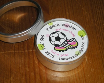 Girl soccer : Calling Cards Playdate cards in a tin - Set of 45 cards