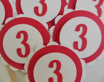 3rd Birthday Cupcake Toppers - Red and White - Birthday Party Decorations - Child Birthday Party - Set of 6