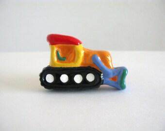 Bulldozer Knob - Dresser Drawer Knob - ceramic orange truck pull