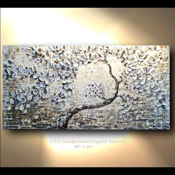 Painting on canvas big large gold brown black white textured