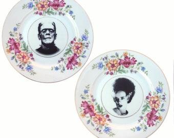 "Frankenstein and Bride Portrait Plate Set 6.25"""