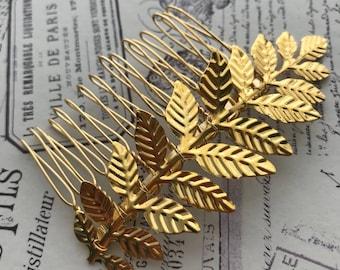 gold leaf hair vine , gold leaf bridal hair comb  , wedding headpiece , gold vine , gold bridal headpiece - Rustic wedding