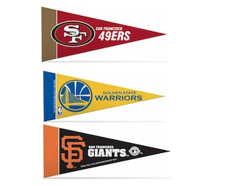 """Officially Licensed Mini Pennants San Francisco Fan Pack Set Includes 49ers, Warriors, & Giants 4"""" x 9"""""""