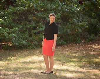 1990s Pencil Skirt // Vintage Coral Skirt // Pocket Skirt