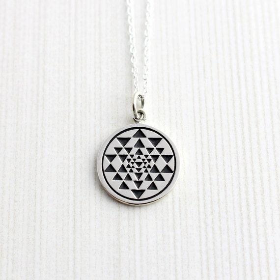 Sterling silver sri yantra necklace sri yantra pendant shree mozeypictures Choice Image