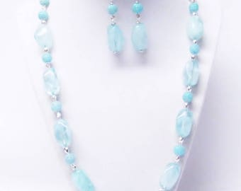 Smooth Aqua Blue Acrylic Nugget Beads Necklace/Earrings