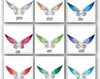 fairy wings transparent degraded varnished 6 cm - for miniatures, fairy and baby polymer clay, made in France