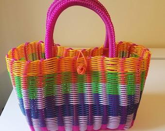 Mexico Woven Bag, Hand Woven, Mexican Tote, Artisan Basket