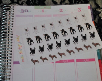 French Bulldog Stickers Frenchie Stickers Dog Stickers for Erin Condren Life Planner Plum Paper Planner