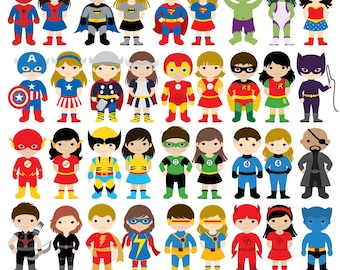36 Kids Superhero Costumes Clipart, Superheroes Kids Clipart, Superheroes Clipart, Super Hero Clipart, Superhero Boys, Superhero Girls