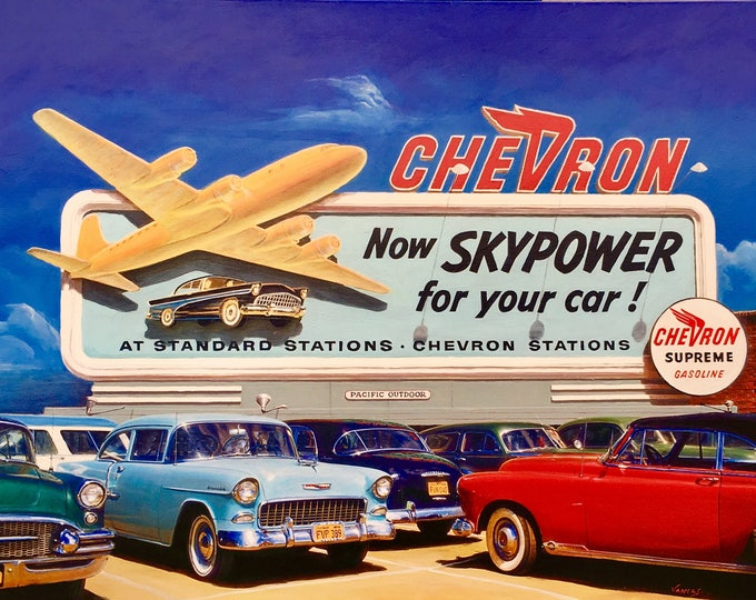 Featured listing image: SKYPOWER 1956 ORIGINAL Painting VANCAS Midcentury Auto Aviation Los Angeles Airport Airplane Gas Station Chevron Buick Chevy Thunderbird DC6