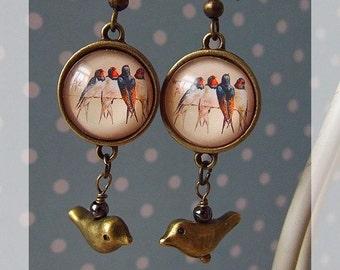 "earrings of ""Spring Swallows"""