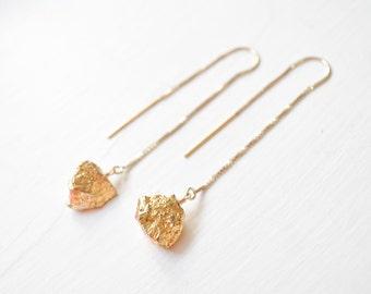Gold Pyrite Earrings, 14kt Gold-Fill Gemstone Earrings, Long Gold Earrings, Gold Jewelry