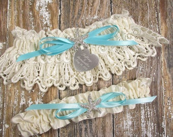 Beach Wedding Garter Set, Personalized Starfish Wedding Garters in Ivory Venice Lace with Engraving, a Custom Color Bow and Rhinestones