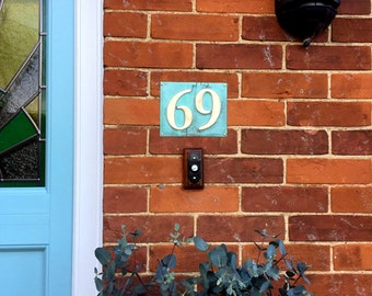 "Eco Gift Present  House numbers in patinated copper, 3""/75mm, 4""/100 mm, polished and laquered, 2 x numbers g"