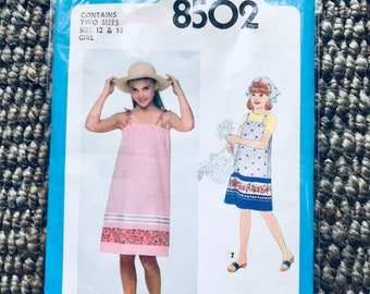 Simplicity #8502 Size 12 - 14 Vintage 1970's Girl's Sewing Pattern Pullover Sundress or Jumper and Head Scarf Pillowcase Dress UNCUT NEW