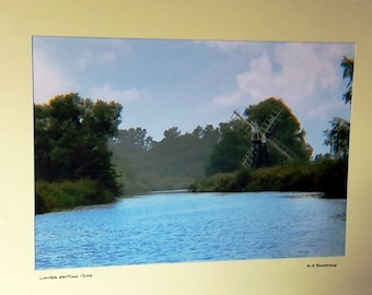 Boardman's Windmill, How Hill, Norfolk Broads, Nature Photograph, Signed Limited Edition A3 Landscape Color Photograph in 50cmx40cm Mount.